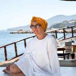 Anouska Hempel on her Turkish gulet, Beluga I, moored in Ischia in the Gulf of Naples