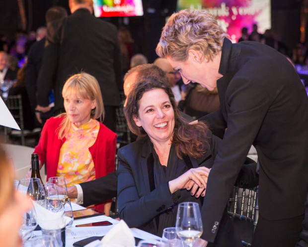 Actor Olivia Colman (left) conversing with fellow thespian Tamsin Greig at a past National Theatre Gala event