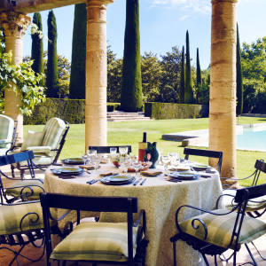 The outdoor pool at the sumptuous Château des Anges, nestled deep in the Luberon, Provence