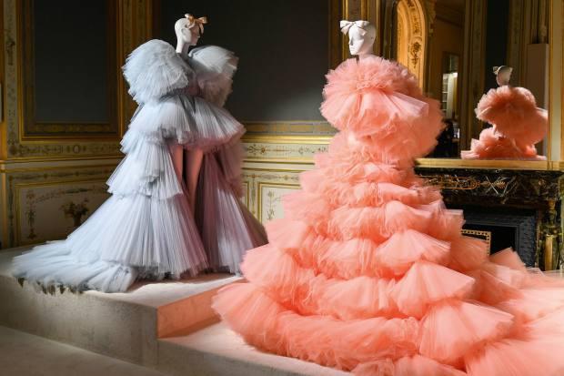 An exhibition ofGiambattista Valli's autumn/winter 2019 couture collection, held at Shangri-La Hotel, Paris