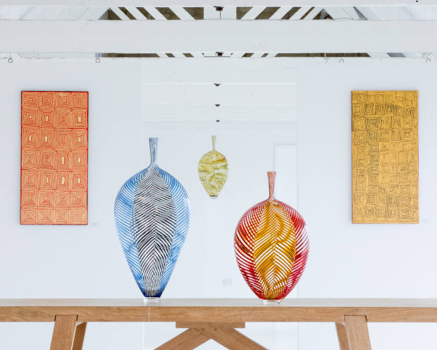 The exhibition showcases Marioni's artistry with colour