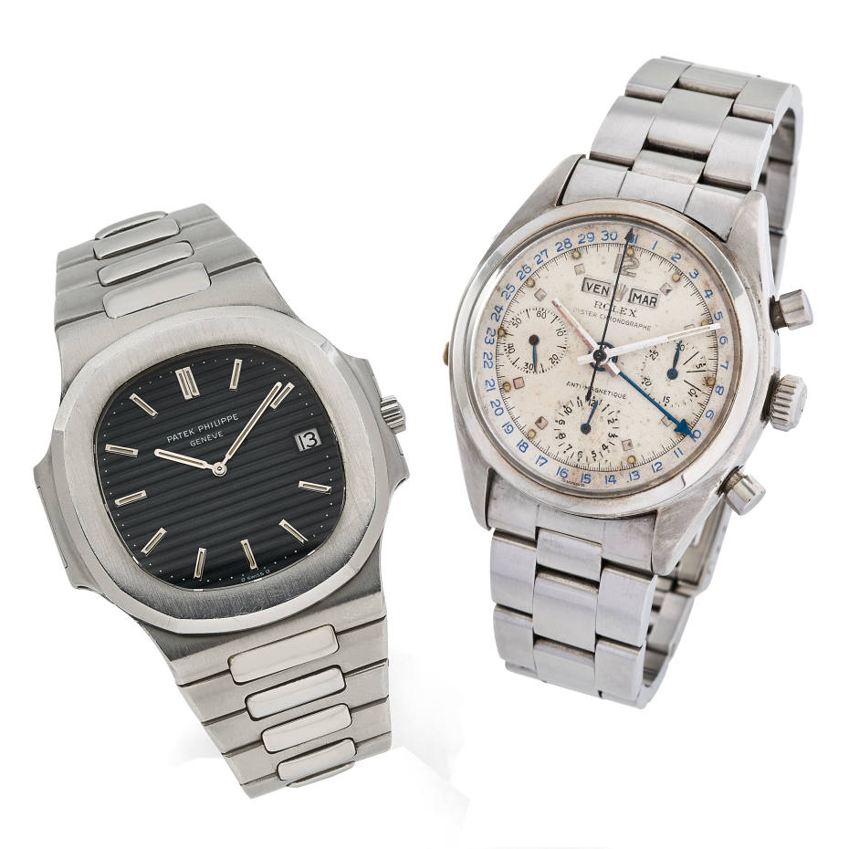 From left: Patek Philippe Nautilus, €16,000-€18,000. 1953 Rolex Oyster chronograph, €100,000-€150,000