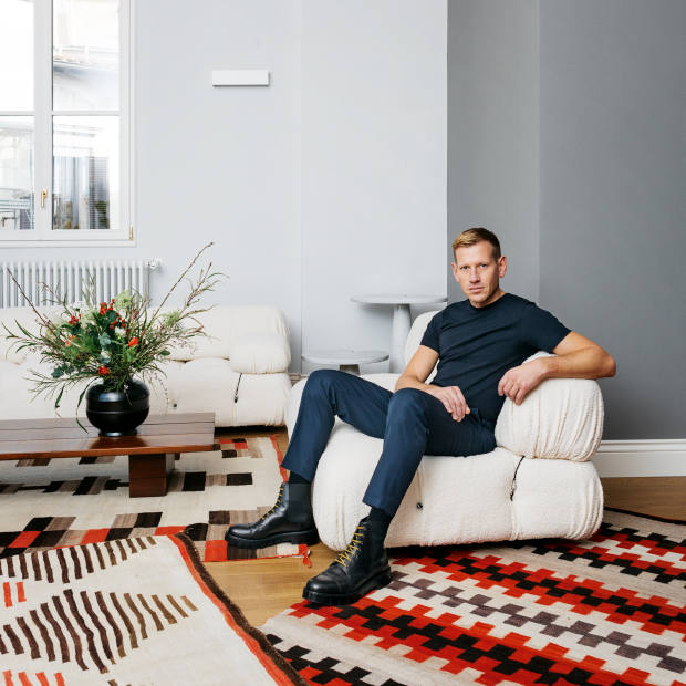 Paul Andrew, creative director of Salvatore Ferragamo, at home in Florence