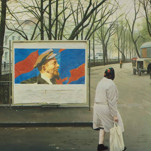 Farewell Lenin by Erik Bulatov, which is going to auction at Sotheby's and has an estimate of £200,000-£300,000