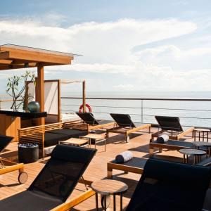 The outdoor lounge of Aqua Mekong