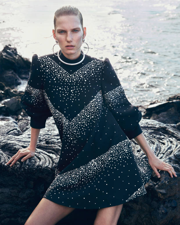 Celine wool/silk cady crepe and strass crystal dress, £12,200. Dinosaur Designs mineral silver earrings, £190. Saskia Diez silver-plated brass choker, £238