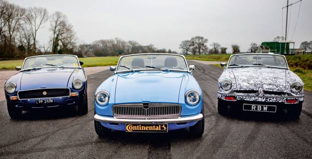 RBW Electric Classic Cars' converted MGB Roadster (centre), POA, with the prototype (right)