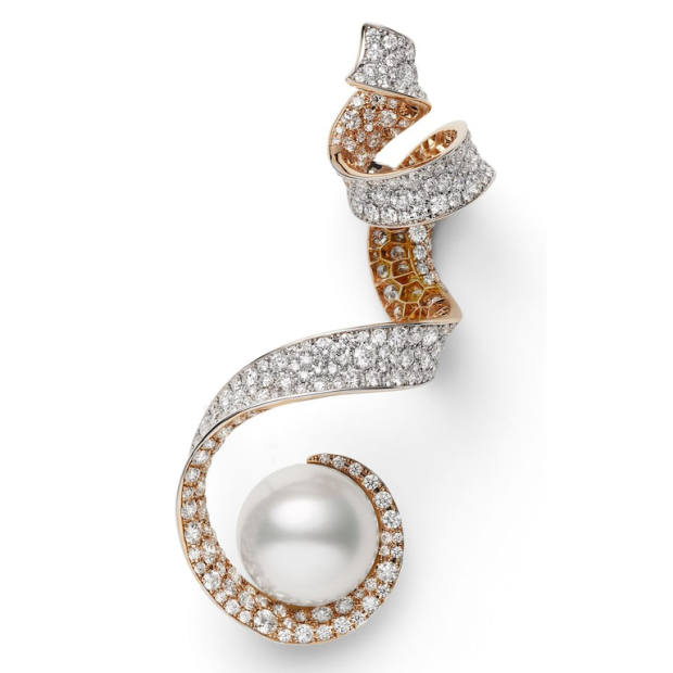 Mikimoto rose gold, white gold, diamond and pearl Jeux de Rubans earrings, price on request
