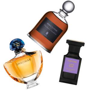 Clockwise from top: Serge Lutens'Mandarine-Mandarin, €190 for 75ml EDP. Tom Ford Café Rose, £162 for 50ml EDP. Guerlain Shalimar, £72 for 50ml EDP