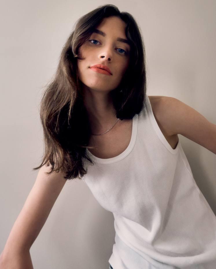 Still banking on the lipstick index: Sophie Martynova (@ Premier Models) wears Rouge Hermès matte lipstick in Rose Inouï, shot at home during lockdown