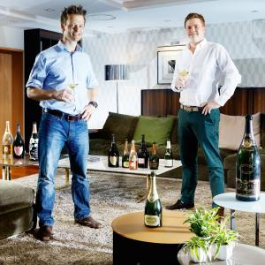 Physiotherapist Peter Crawford (left) with Chris Wood, director of Chelsea Vintners, at L'Assiette Champenoise hotel, near Reims, France