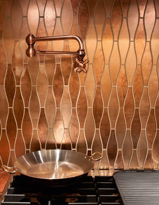 The Artistic Tile Company for De Ferranti glass and copper Treble mosaic tiles, £1,932 per sq m