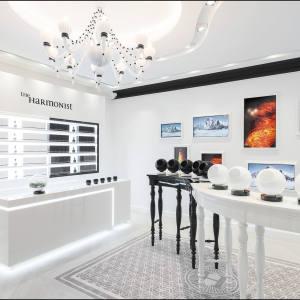 The Harmonist's monochrome interior