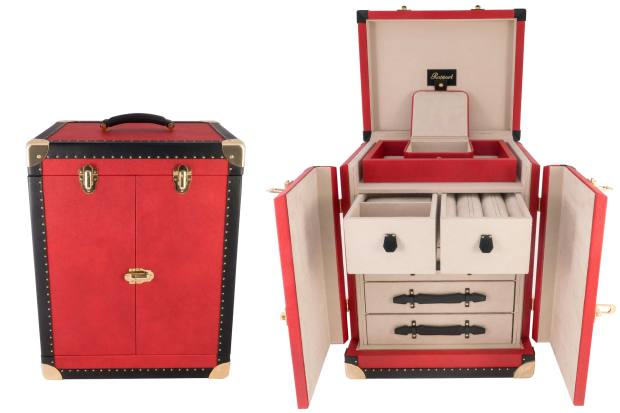 The Rapport jewellery trunk, from£5,000, has tiered drawers and compartments that can be designed to serve a host of functions on the road