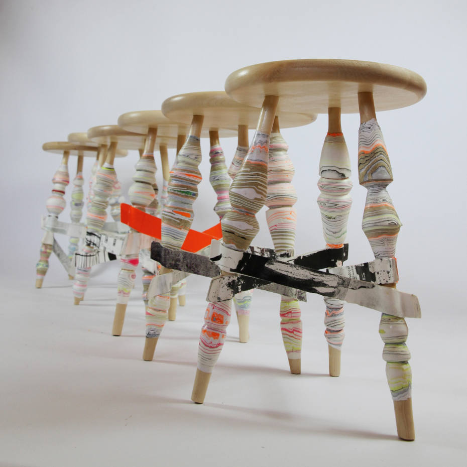 Pia Wüstenberg birch-wood and paper stools, €440 each