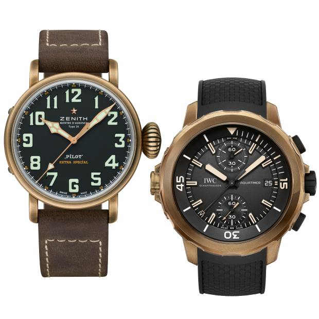 "From left: Zenith bronze Heritage Pilot Type 20 on leather strap, £5,200. IWC Schaffhausen bronze Aquatimer Chronograph Edition ""Expedition Charles Darwin"" on rubber strap, £8,500"