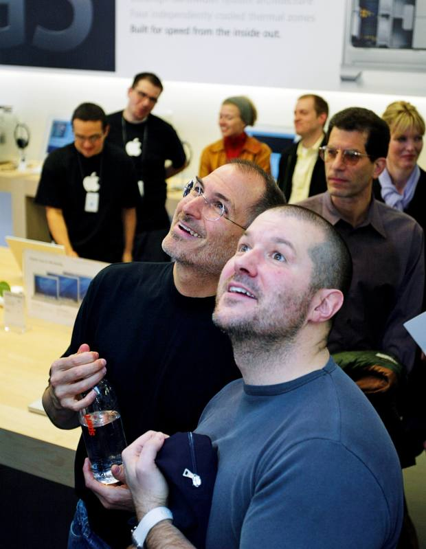 Jonathan Ive and Steve Jobs at the launch of Apple's San Francisco flagship in 2004