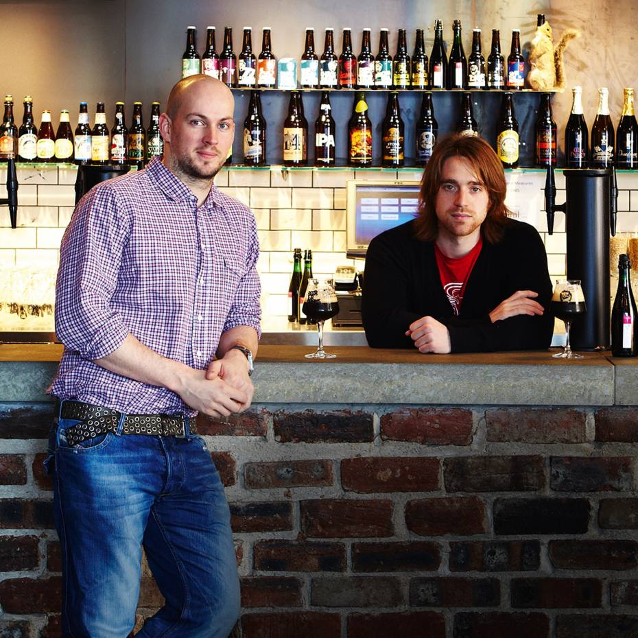 The co-founders of BrewDog brewery, James Watt (left) and Martin Dickie, in the bar they opened in Aberdeen last year.