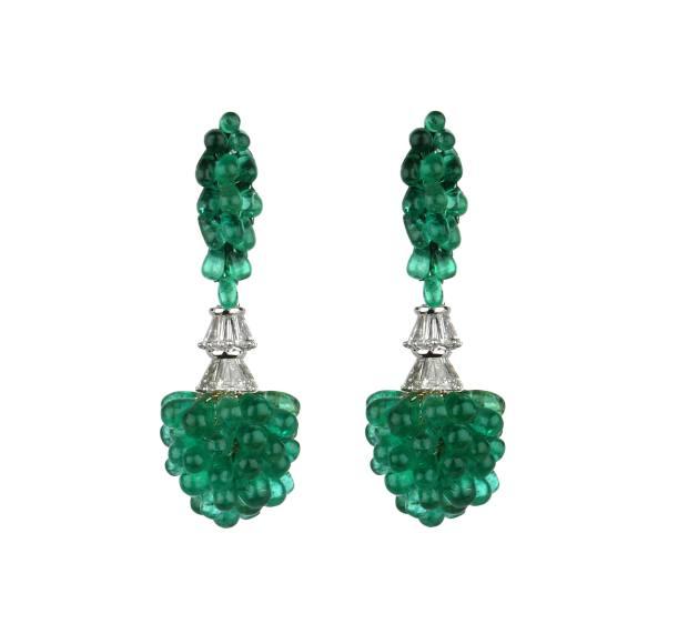 Gold, diamond and Zambian emerald earrings