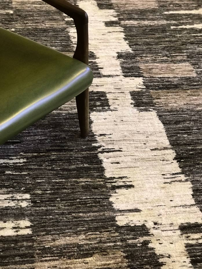 The Rug-in-Rug collection (£600 per sq m) is made from natural, undyed wool and features a design inspired by Native American horse blankets