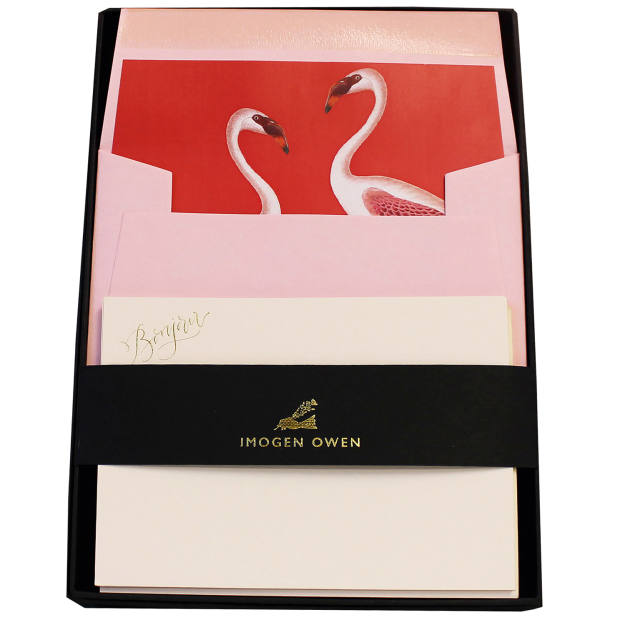 Imogen Owen Flamingo correspondence cards, £30 for 10; can be personalised, from £175 for 25