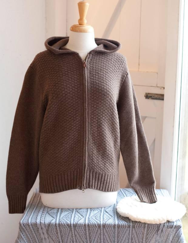 Moss-stitch hoodie, €260; basket-weave Soufflé hat, €70; shawl, €170.