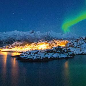 The Aurora Borealis over Hamn in northern Norway