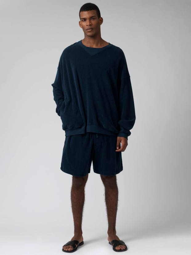 Katharine Hamnett cotton-towelling Vince top, £175, and matching Lucien shorts, £125