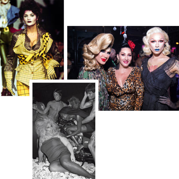 Clockwise from top left: Helena Christensen wears Vivienne Westwood at Paris Fashion Week,1995. Jodie Harsh, Michelle Visage and Miss Fame at the 2017 Fashion Does DragBall, hosted by Marc Jacobs Beauty and RuPaul's DragCon. Divine and Grace Jones at the singer's 30th birthday celebration, 1978