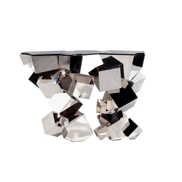 Hervé Van der Straeten stainless steel and marble Console Cristalloide, price on request