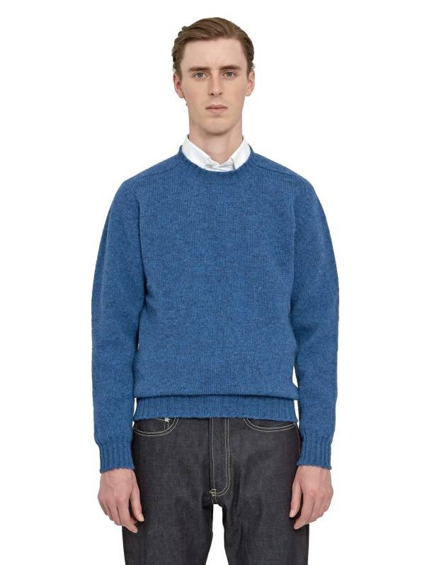 Shetland-wool jumper, £195, cotton poplin shirt, £160, and raw denim classic jeans, £159
