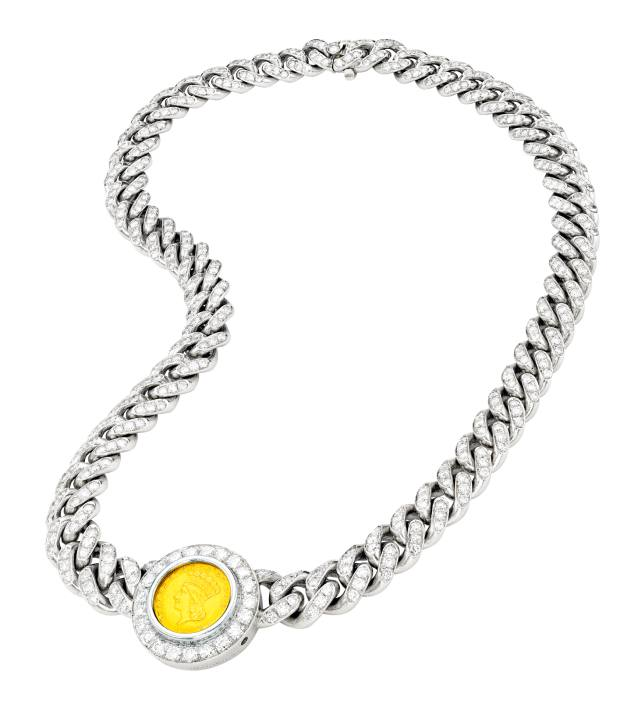 Bulgari coin necklace, sold for $62,500 at Sotheby's