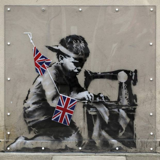 Artwork attributed to Banksy, on wall in north London