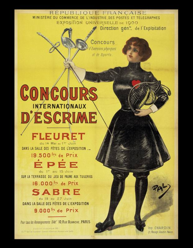 The poster for fencing events at the 1900 Paris Olympics.