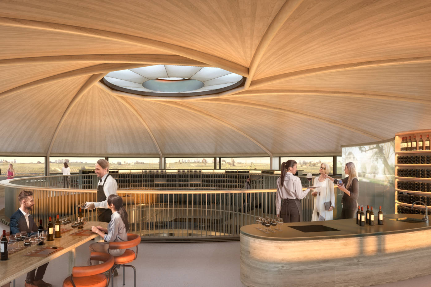 The tasting room at Le Dôme, with its 360-degree panorama across the vineyards