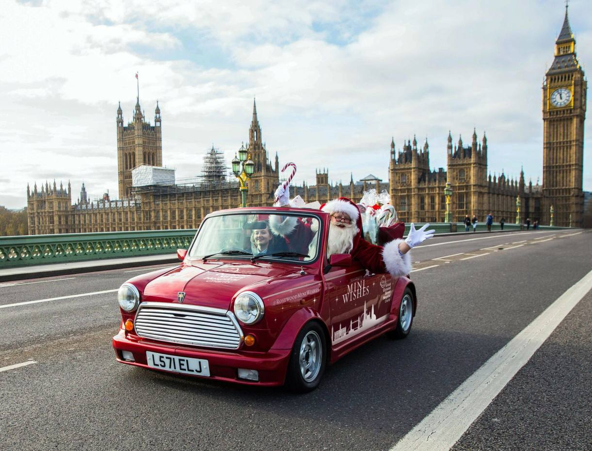 Father Christmas will travel round London in a vintage red Mini Cooper, encouraging people to make a wish online