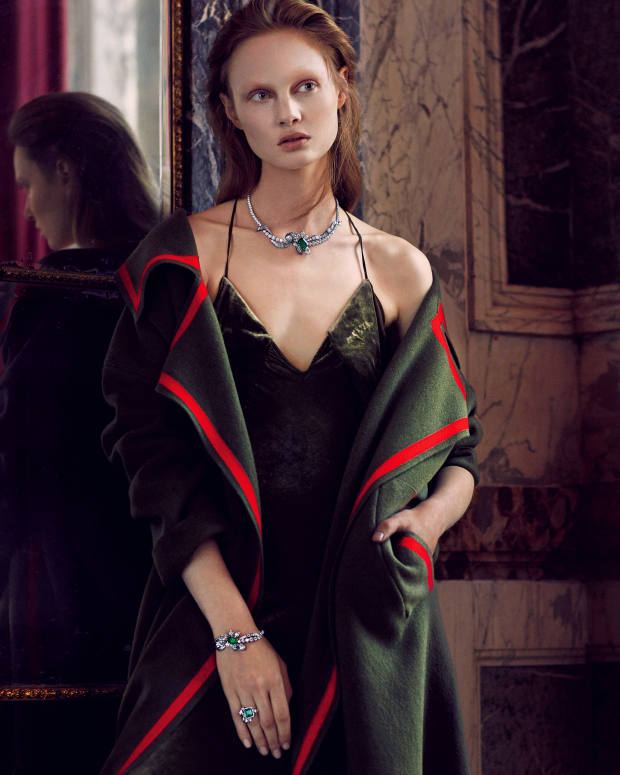 Burberry wool/cashmere and shearling coat, £2,195. AF Vandevorst silk velvet dress, about £735. Dior Fine Jewellery Salon de Diane white, rose and yellow gold, darkened silver, diamond and emerald necklace, and matching bracelet; Acanthe Emeraude white, rose and yellow gold, darkened silver, diamond and emerald ring. All price on request