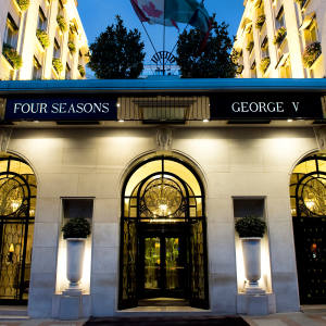 The grand entrance of the Hotel George V, Paris