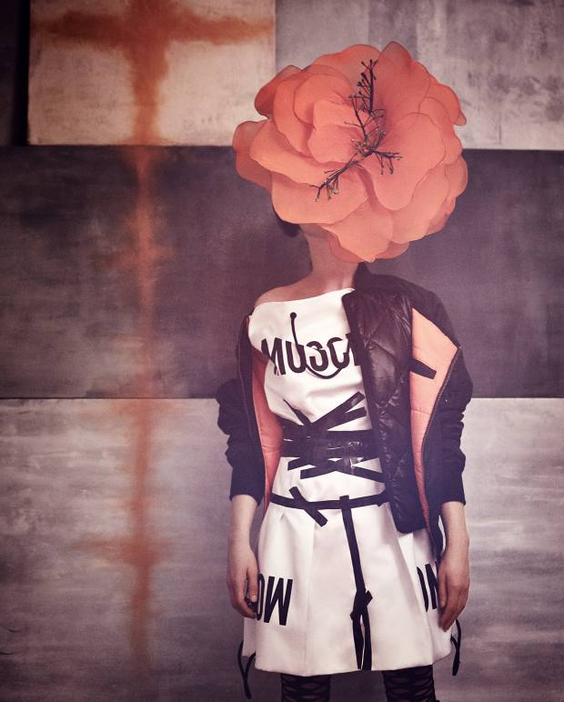 Lutz Huelle polyamide jacket, about £767. Moschino duchesse polyester dress, £1,230. Emilio Cavallini Modern fishnet tights, £17. DZD flower (worn as headpiece), from a selection