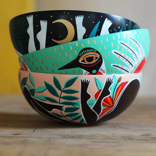 Amy Isles Freeman's hand-turned and handpainted vessels range from £145-£300