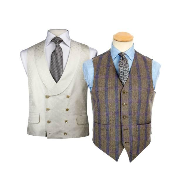 Favourbrook silk waistcoat with shawl collar, £260. Regent Tailoring tweed waistcoat, £99