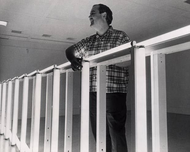Dan Flavin installing his fluorescent work at the National Gallery of Canada, Ottawa, 1969