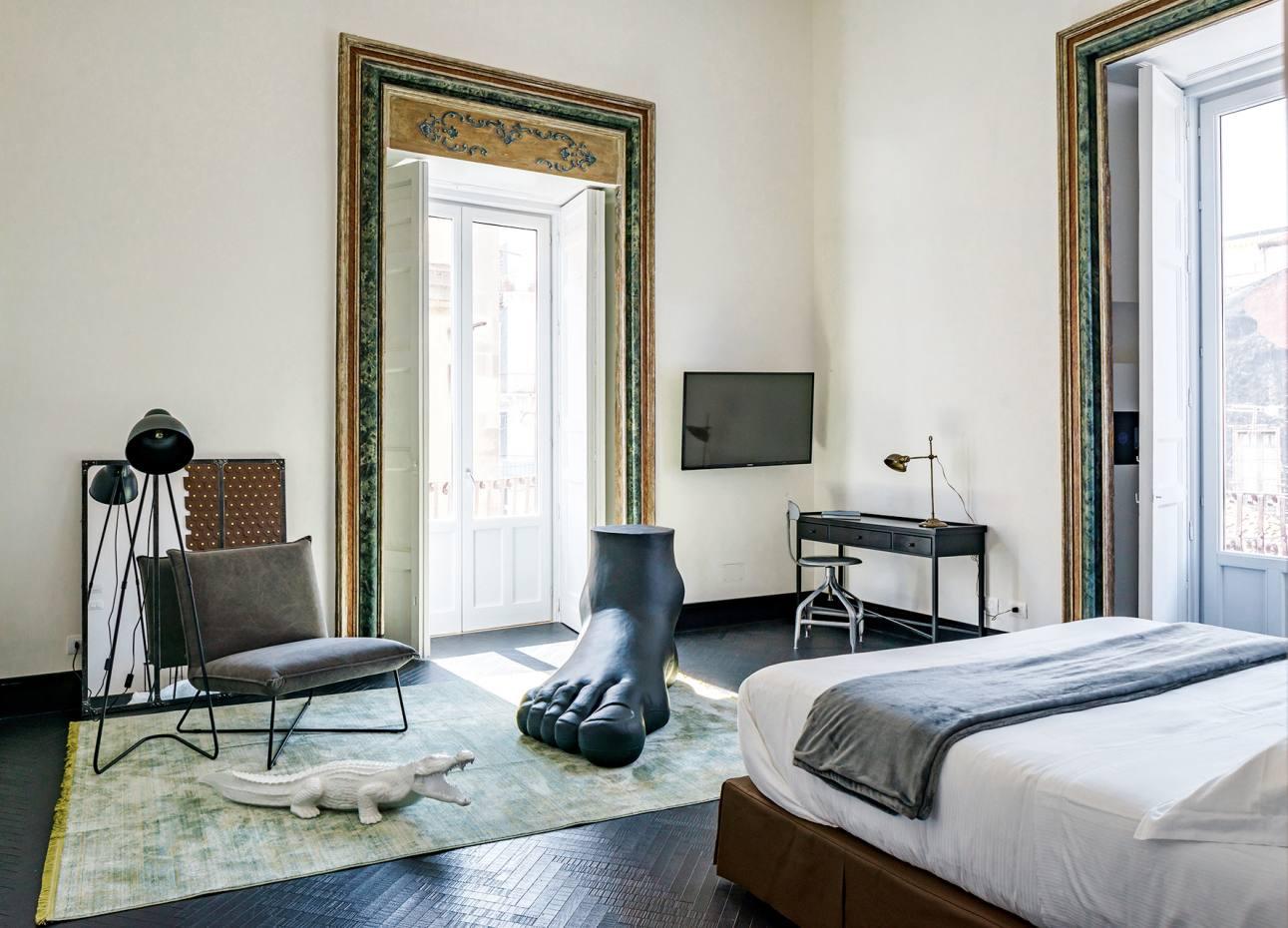 The rooms at Asmundo diGisira, in Catania, each boast bespoke details, such as originalartworks