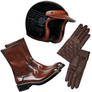 From top: Berluti Off the Road carbon-fibre and leather helmet, £2,840; lambskin gloves, £520; and leather boots, £3,600
