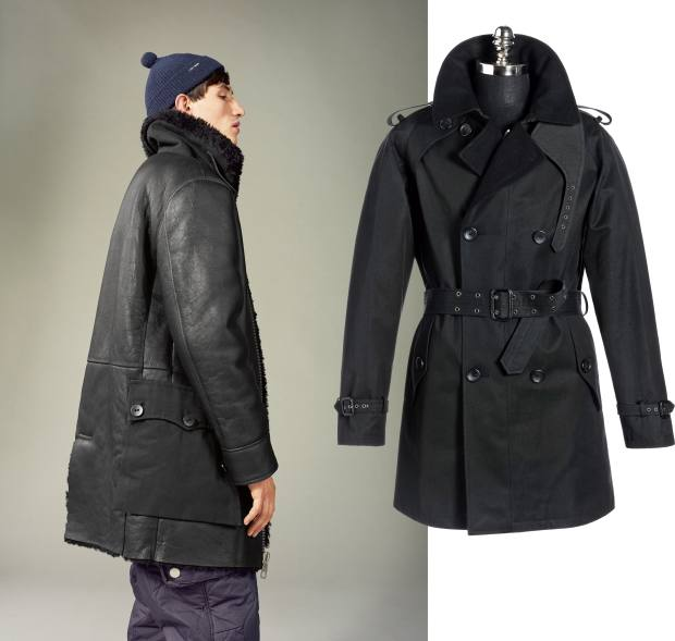 From left: Nigel Cabourn x Peak Performance sheepskin, shearling and canvas Snow Patrol jacket, £1,700. Sealup cotton gabardine Black Beauty trench, £950