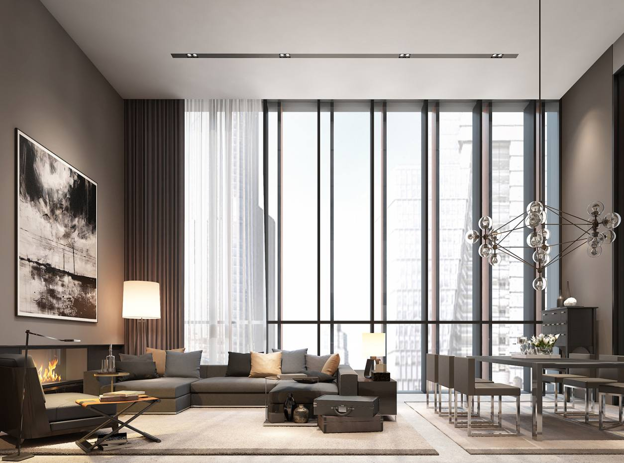 A living and dining space in a Soori High Line residence, New York, apartments from $3.6m to $22m