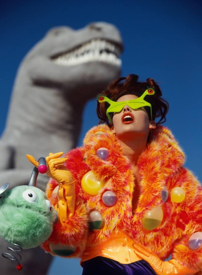 Cabazon Dinosaurs 1991. Shana Zadrick wears Flingstone. Lady Miss Kier by Mugler