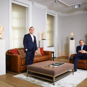 James and Gregory Demirjian, co-presidents of Ariadne Gallery in Mayfair, with (from far left) a 3rd-2nd century BC Greek marble head of Aphrodite, £2m, 3rd-1st century BC south Arabian alabaster and shell stele, £90,000, c50 BC Roman marble portrait of a patrician, £180,000, and 4th century BC Greek marble statue of a youth, £150,000