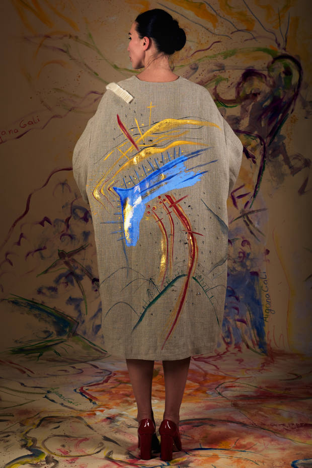"Aigana Gali's ""art couture"" technique involves individually handpainting each piece, as in the Creation Myth No 8 coat, from £2,000"