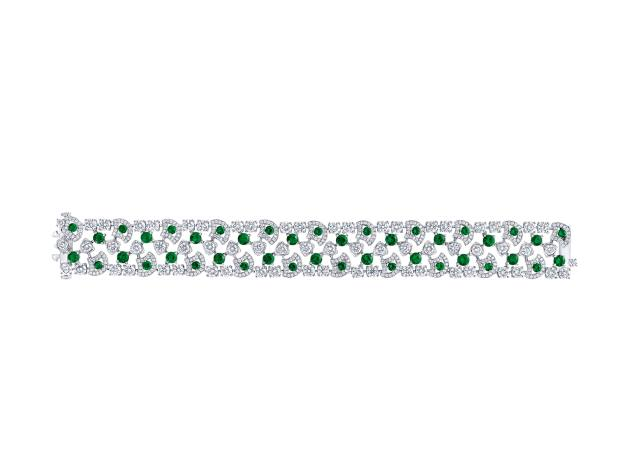 White gold, emerald and diamond bracelet from the Icon collection